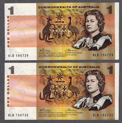 Commonwealth of Australia 1972 Phillips/Wheeler $1 Consecutive Banknotes R74