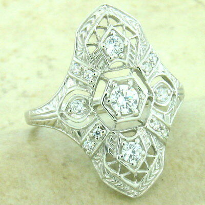 Art Deco Platinum Over 925 Sterling Silver Antique Style Cz Ring Size 9,   #1157