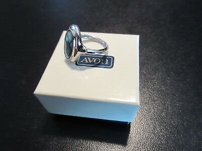 Signed AVON Abalone Shell Inset Silver Tone Ring with Box Size 6.5