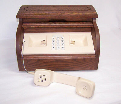 1970s Western Electric Wood Roll Desk Novelty Telephone ~ Works Great!