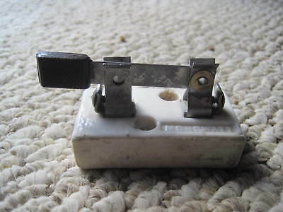 Antique Electrical Knife Switch -Hit Miss Single Pole/Throw Small Porcelain SPST