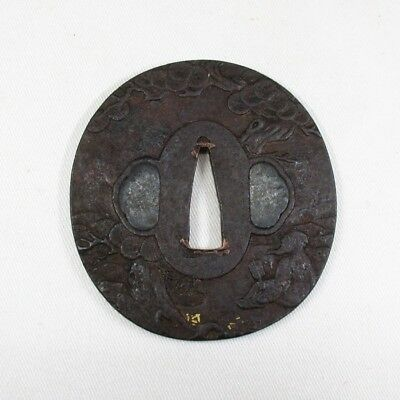 H190: Real old iron Japanese SAMURAI's sword guard TSUBA with tasteful design