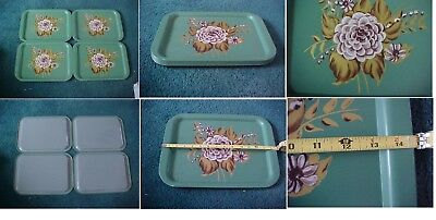 "3 Vintage Mid-Century Serving Trays Lap Tv Metal Retro 11"" By 14 1/2"" Green"