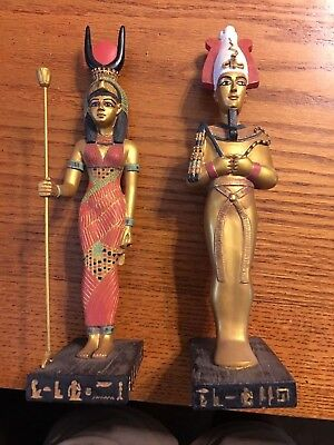 Lot Of 2 Ancient Egyptian Reproductions Pharaoh Osiris And Hathor Statues