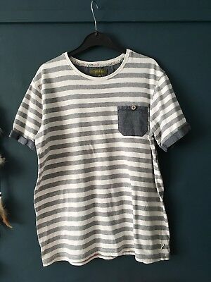 Boys Ted Baker Striped Grey/cream T Shirt Age 13-14