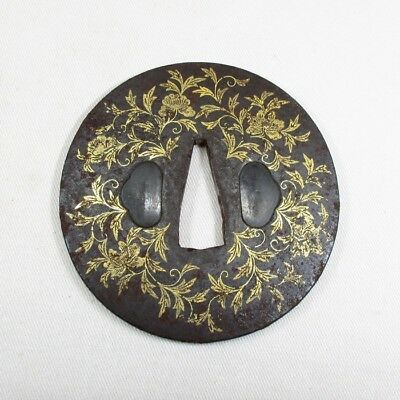 H196: High-class old iron Japanese sword guard TSUBA with fantastic gold inlay