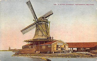 Rotterdam Holland (the Netherlands)~Dutch Windmill Built on House~Info Bk~c1910