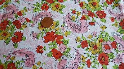VTG Antique Cotton Fabric 30s Quilt Doll Pink Feathers Red Flowers Mustard