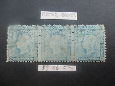 NSW Stamps: 2d Blue Plate 2 Diadems  Strip of 3 Mint    (k16)