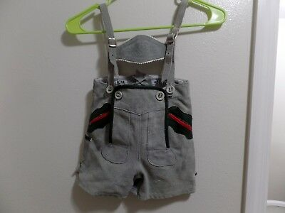 Vintage German Children's Lederhosen Shorts Overalls Gray Leather