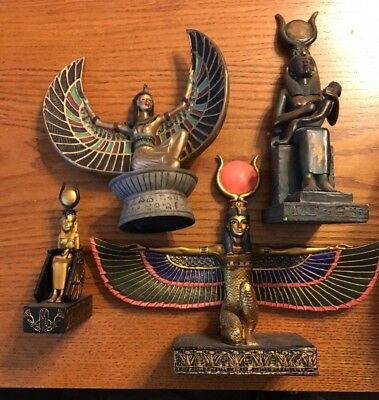 Lot Of 4 Ancient Egyptian Reproductions Isis Goddess Statues