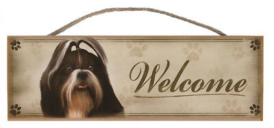 "Shih Tzu ""Welcome"" Rustic Wall Sign Plaque Gifts Home Ladies Pets Dogs"