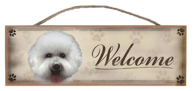 "Bichon Frise ""Welcome"" Rustic Wall Sign Plaque Gifts Home Ladies Pets Dogs"