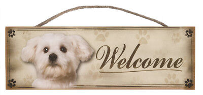"Maltese ""Welcome"" Rustic Wall Sign Plaque Gifts Home Ladies Pets Dogs"