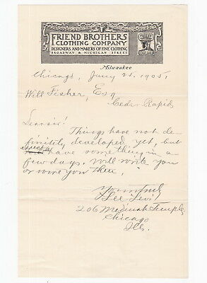 Milwaukee 1905 Friend Brothers Clothing Letter - Lee Levi