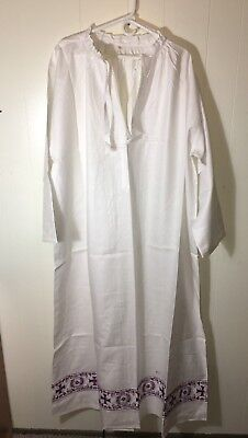 Linen Alb + Purple Embroidery + New Old Stock + Vestment