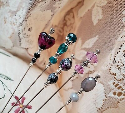 Hat Pins, Scarf Pins Victorian, Vintage Inspired Purple, Black, Heart, Strong