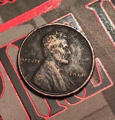 1914 d lincoln cent Wheat Penny Black *1 Cent Coin* KEY DATE
