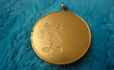 1978 Walt Disney Productions Mickey Mouse Gold plated Coin Medallion Vintage