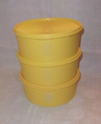 Vintage Tupperware Stackable Canisters - Gold