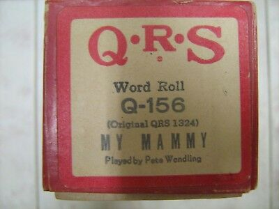 QRS Piano Music Roll #Q-156 My Mammy Played by Pete Wendling Orig. QRS 1324