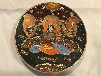 Vintage Japanese Moriage Gilded Satsuma hand painted Decorative Plate