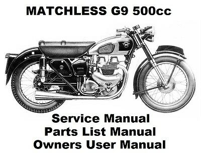 MATCHLESS G9 CLUBMAN 500 Owners Workshop Service Repair Parts Manual PDF on CD-R