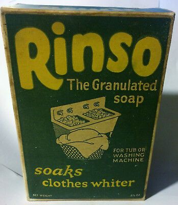 Vintage 1920's RINSO The Granulated Soap Lever Bros Unused Sealed 8 1/2 oz Box
