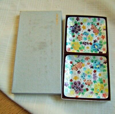 Ando Cloisonne Trays Japanese In Box