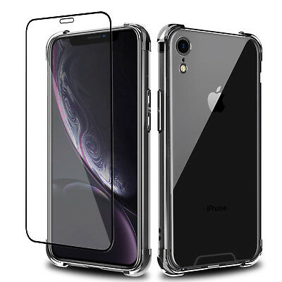 For Apple iPhone XR Transparent Clear Case Cover+Tempered Glass Screen Protector