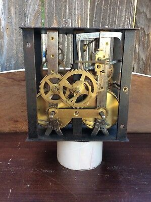 French Morbier Time & Strike Wall Clock Movement w/ Dial Plate, Parts / Repairs