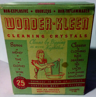 Vintage 1940's Sealed Box of WONDER-KLEEN Cleaning Crystals Non Explosive