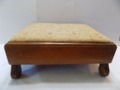 """Vintage Low Foot Stool  Upholstery Covered Wood  16x10x14""""   (8)"""
