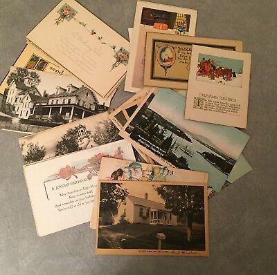 INTERESTING LOT of EARLY POSTCARDS-ALL COLLECTED BY ONE FAMILY FROM MASSACHUSETT