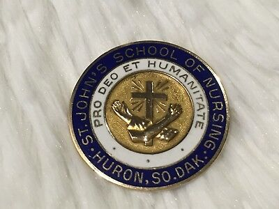 10K GOLD ST. JOHN'S School of Nursing Pin 1956 Huron, So. Dak