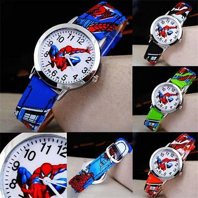Spiderman PU Leather Wrist Watch Lady Girl Boy Women Teens Kids Cartoon Watches