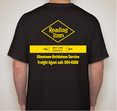 RDG -Reading Railroad Bee-Line Service T-Shirt X-Large-Ships Free CNJ CR Philly