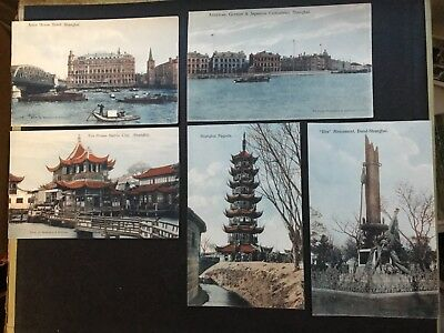5 Old Shanghai China Postcards Astor House Hotel, Consulates, Pagoda, Monument