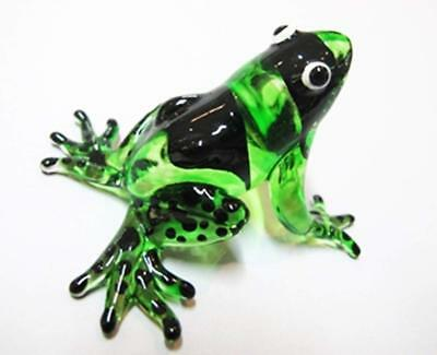 Lampwork COLLECTIBLE MINIATURE HAND BLOWN Art GLASS New Frog, Green FIGURINE