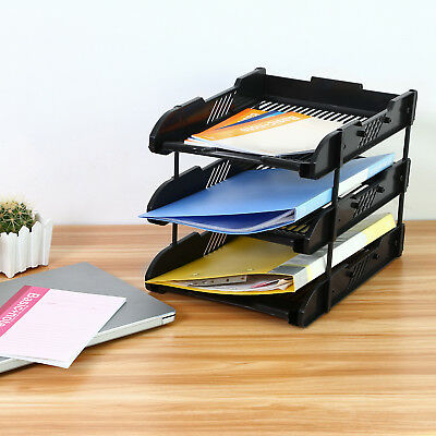 Superbe Office 3 Tier File Letter Document Organizer Rack Desk Paper Tray Folder  Black