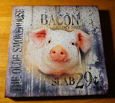 OLD SMOKEHOUSE BACON PIG SIGN Rustic Country Wood Fence Kitchen Home Decor NEW