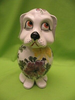 """WHITE DOG BANK w/FLOWERS - GREAT FOR CHILD - 8"""" TALL - EXCELLENT CONDITION"""