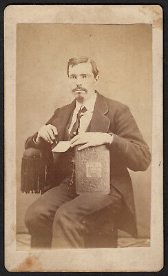 """POLAR"" BOOK BUSINESS MAN PENCIL WATCH FOB 1800s CDV VINTAGE PHOTO JANESVILLE OH"
