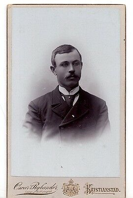 Vintage Swedish Carte de Visite Photo Man with Moustache – Oscar Rylander