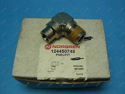 "Norgren 12-445-0748 Push To Connect Elbow Fitting 1/2 Tube x 1/2"" NPT Male Brass"