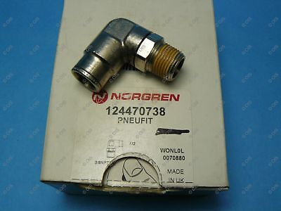 "Norgren 12-447-0738 Push To Connect Swivel Elbow 1/2 Tube x 3/8"" NPT Male Brass"