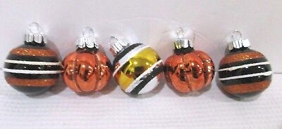 Halloween Thanksgiving MINI (5) Glass Pumpkin Ball Ornaments Decor Decorations