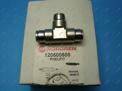 """Norgren 12-060-0600 Push To Connect Union Tee 3/8 x 3/8 x 3/8"""" Tube Brass"""
