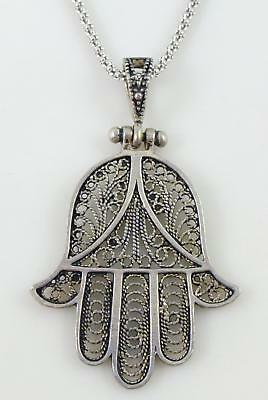 Sterling Silver Filigree Hamsa Hand Pendant Link Chain Necklace
