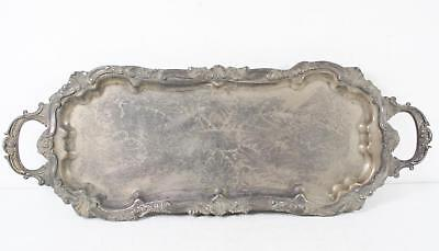 Vintage Silver Plated Footed Handle Long Ornate Design Engraved Butler Tray